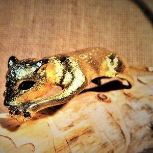 Vtg Stunning Panther  Shoulder Brooch